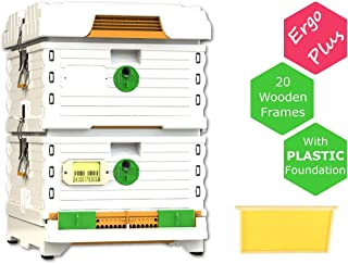Apimaye Ergo Plus White 10 Frame Langstroth Insulated Bee Hive Set with Wooden Frames and Wax Coated Plastic Foundation (White)