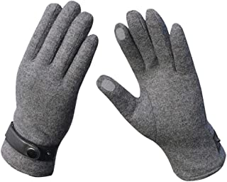 QARYYQ Autumn Wool Cashmere Mens Riding Half Finger Gloves Color : Silver Gloves