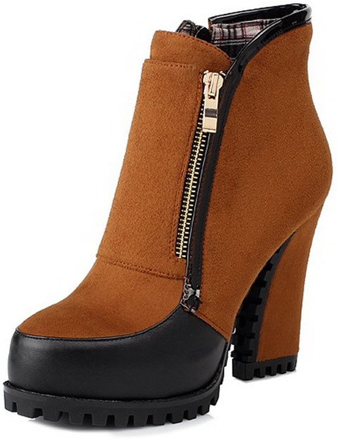 WeenFashion Women's Frosting Soft Upper Leather colorant Match High Chunky Heels Ankle Boots with Zippers