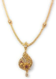 AFJ GOLD 1 Gram Micro Gold Plated South Indian Traditional Trendy Fashion Jewellery Stylish Ruby Emrald Stone Necklace for...