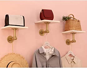 LIANGJUN Wall-mounted Storage Floating Shelves Water Pipe Metal Support Show Bags Simple Hook Up Load Bearing 2 Colours, P...