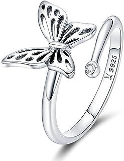 خاتم 925 فضة استرليني فراشة مكعب زركون خاتم قابل للتعديل مفتوح خواتم للنساء مجوهرات
