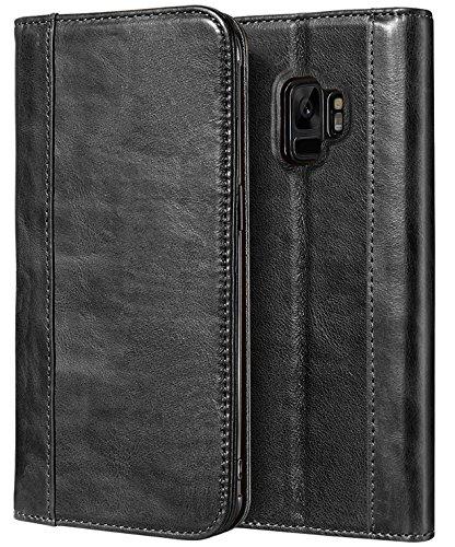 Funda Galaxy S9, ProCase Vintage Estuche Plegable con Billetera para Kickstand y Ranuras para Tarjetas Múltiples Cierre Magnético Funda de Cuero Genuino para 5,8 Pulgadas Samsung Galaxy S9 –Negra
