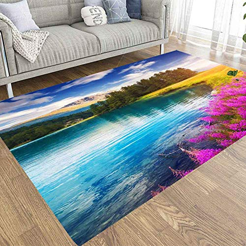Capsceoll 3X5 Area Rugs Play Area Rug,Azure Pond Unique Place Location Village Swiss Europe Wonderful Image of Scenic Environment Hiking Concept Colorful Area Rugs for Bedroom Living Room Kitchen
