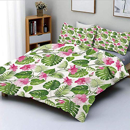 Duvet Cover Set,Hawaiian Hibiscus Crystal Pink Flower with Palm Tree Leaves Art PrintDecorative 3 Piece Bedding Set with 2 Pillow Sham,Light Pink and Dark Green,Best Gift For K