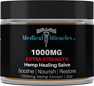 Medical Miracles Hemp 1000 Mg Extra Strength Healing Hemp Salve, Relieves Inflammation, Muscle, Joint, Knee, Nerves, and Arthritis Pain. 100% Natural Cream