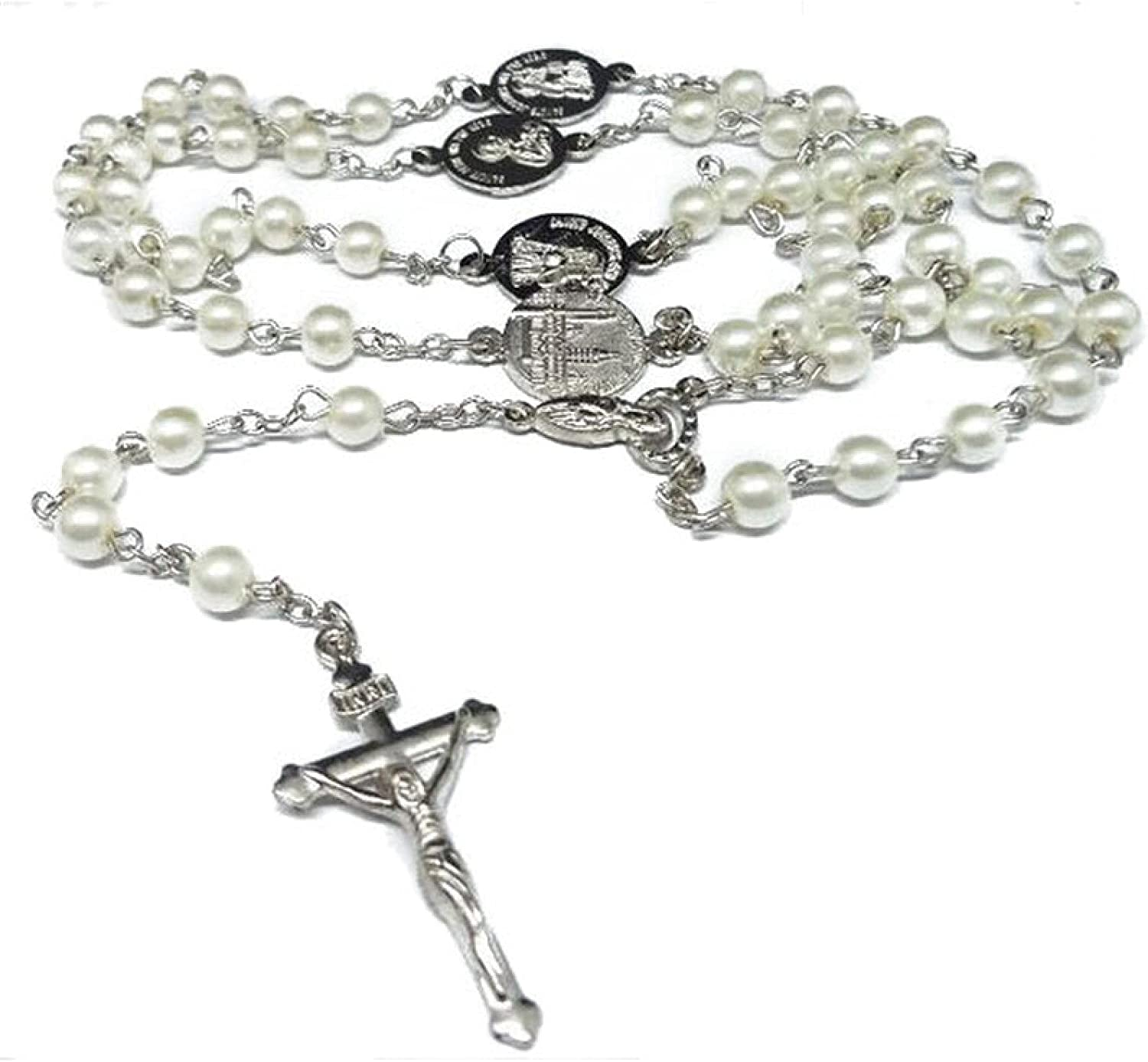 Catholic Rosary Necklace Small Size Round White Pearl Beads Virgin Mary Jesus Jewelry For Women