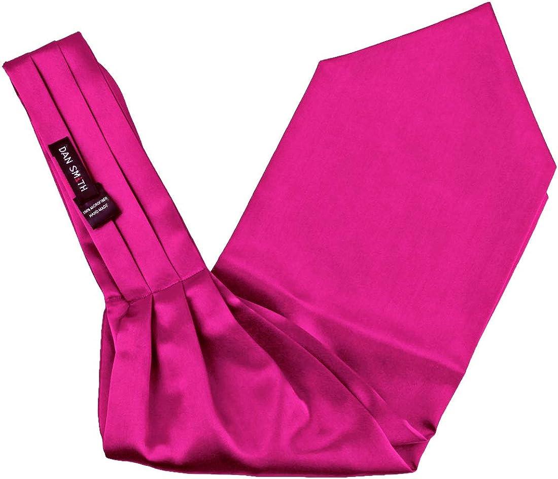 Dan Smith Men's Fashion Plain Microfiber Satin Ascot Tie Matching Hanky Set