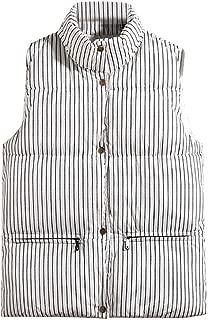 Iuhan Men Sleeveless Vest Autumn Winter Fashion Striped Splicing Keep Warm Comfortable Waistcoat Top Coat Vertical Stripes Pattern