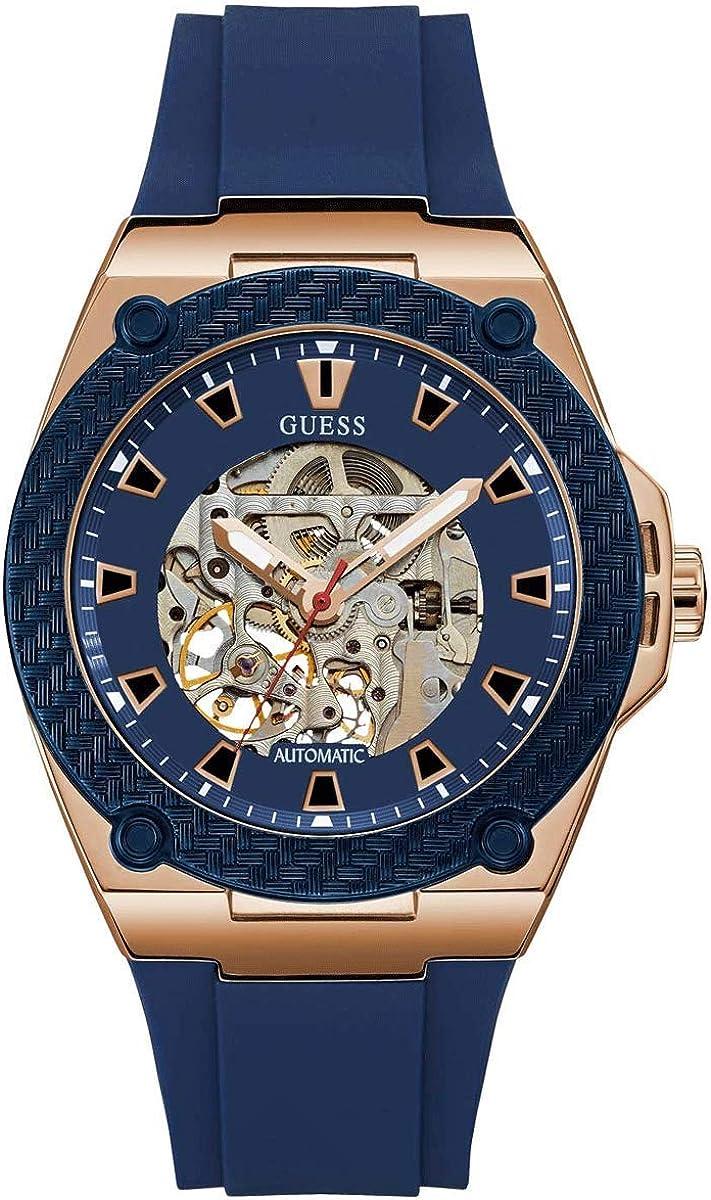 Guess Reloj Analógico para Hombre de Automático con Correa en Silicona W1247G2