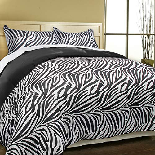 Blue Ridge Home Fashions Leopard or Zebra Reversible 3 Piece Brushed Microfiber-Soft Touch-Easy Care-Button Closure Duvet Cover Set, King