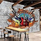 Papel pintado 3D para pared de grafiti con diseño de guitarra, roca, ladrillo roto, KTV, bar, herramientas, decoración para el hogar, pintura mural Fresco