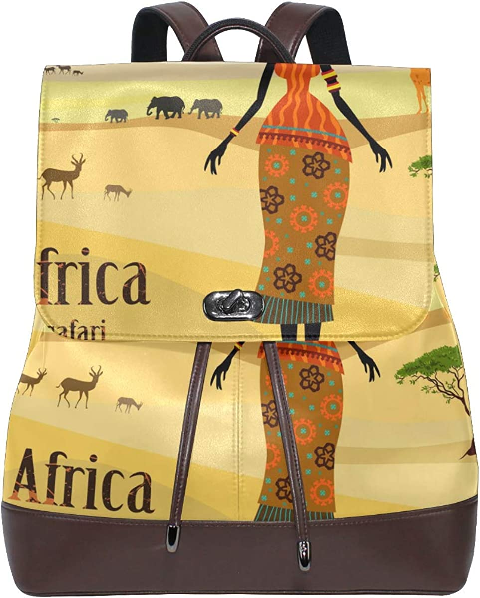 African Import Women In Max 70% OFF Mountain Landscape Le Backpack Fashion PU Purse