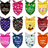 12 Pieces Holidays Dog Bandanas Birthday Pets Bibs Summer Hawaii Easter Patriotic Halloween Thanksgiving Christmas New Year Valentine's Day St. Patrick's Day Pets Bandana Scarf for Pet Costume (L)