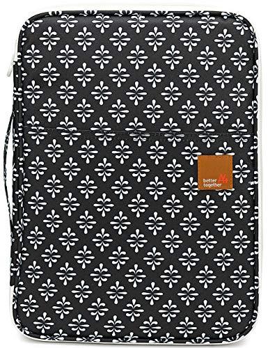 Segeltuch Portfolio Schreibmappe Tablettasche Ordnungsmappe Tragbare Aktenmappe mit Reißverschluss Dokumententasche für Kleingeräte Handy Tablet iPad Papier Notizbuch Stift Schwarz