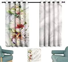 Agoza Grommet Curtains Colorful Poppy Hibiscus Bouquet Space Decorations W72x63L
