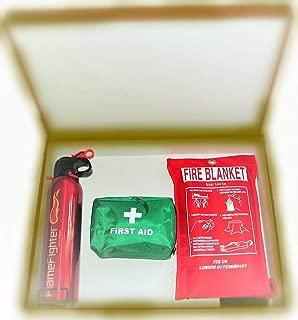 Regalos especiales. Caja de seguridad contra incendios esencial para todos. Extintor de polvo ABC de 600 g, manta ignífuga y kit de primeros auxilios con 42 unidades; ideal para la casa, cocina y oficina