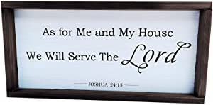 Christian Wall Art – As for Me and My House We Will Serve The Lord Wood Rustic Farmhouse Wall Decor, Rustic Home Decor, Cute Room Decor with Solid Wood Frame-Bible Verse Sign - 17x8x1 Inch
