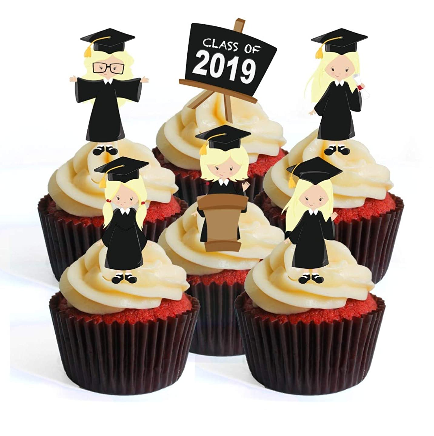 Graduation Girl #2 Edible Cupcake Toppers - Stand Up Wafer Cake Decorations (Pack of 24)
