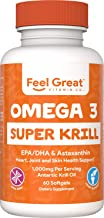 Double Strength Super Krill with Omega-3, DHA & EPAs by Feel Great 365, Astaxanthin Stabilized, No Fish Burps or Repeats, ...