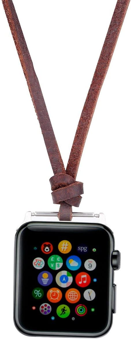 Compatible for Apple Watch Necklace Handmade Necklaces Accessories Adaptor for Apple Watch Series 1 2 3 4 5 Neck Strap Chain Fit Apple 40mm SmartWatch All Models [40 mm -Brown]