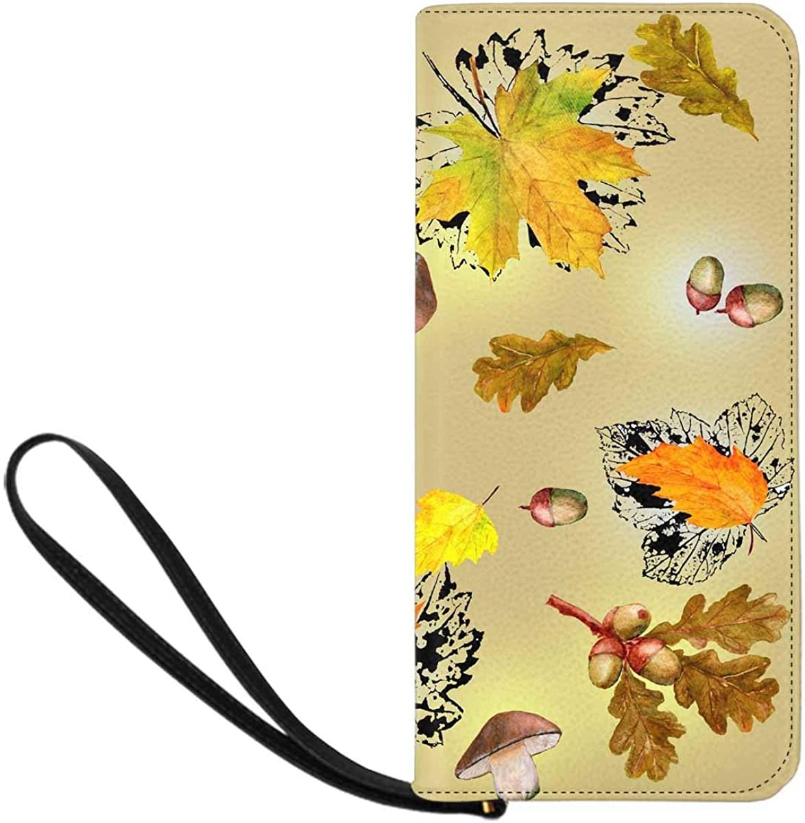 INTERESTPRINT Colorful Autumn Maple Leaf Clutch Purse for Women Evening Party