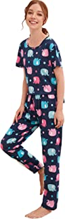 SheIn Women's Cute Cartoon Print Tee Top and Pants Nightwear Lounge Pajama Set