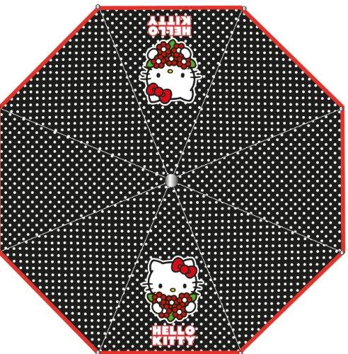Hello Kitty Taschenschirm SCHWARZ 4877 Schirm Kinder - Regenschirm