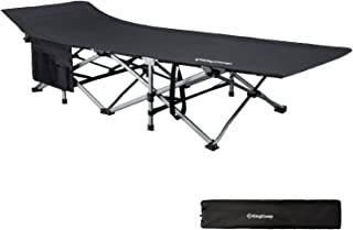 KingCamp Camping Cot XL Oversized Heavy Duty Folding Bed Aluminum Frame with Washable 1200D Jacquard Oxford Fabric, Support 440 lbs, Carry Bag Included, 82 x 29.5 x 15 inches