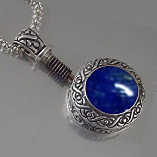 Snuff Pendant With a Spoon Artistic Handmade Gift from the Holy Land Lapis Lazuli Sterling Silver