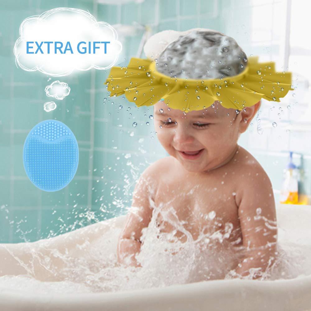 Baby Shower Cap Silicone Shower Hat For Kids Infants Shampoo Shower Cap Flower Like Safety Soft Protection Bathing Visor Cap For Baby Kids Infants Toddler Children Etc Yellow Buy