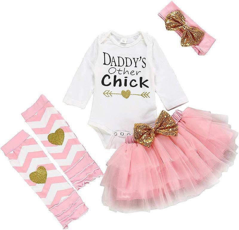 DRAGONHOO Baby Girl Thanksgiving Outfit Newborn Infant Baby Girls Romper Tutu Skirt Hairband Socks Set