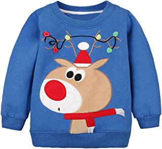 DDSOL Kids Boys Crewneck Sweatshirt Toddler Long Sleeve Christmas Shirts Fleece Pullover 2T-8T