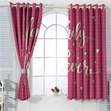 hengshu Family Eclipse Blackout Curtains Hand Drawn Typography Poster Style Family Love Calligraphy Vintage Patio Door Curtains Living Room Decor W107 x L107 Inch Hot Pink Green Light Yellow