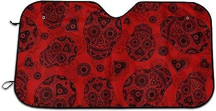 MAJHYQADF14 Red and Black Sugar Skulls Windshield Sun Shade Visor - Pop Culture Novelty Car Accessory