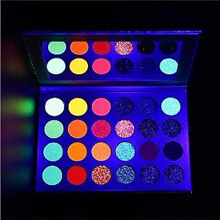 Neon Rainbow Eyeshadow Palette Glow in the Dark,CHARM FOR YOU Fluorescent Eye Shadow UV Glow Blacklight Bright Matte and G...