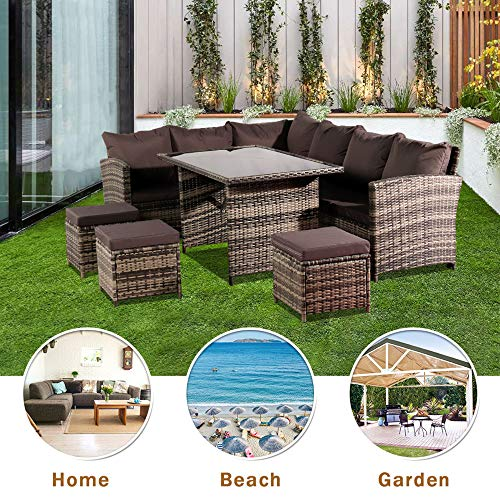 Zakjj (Uk Arrive In 3 Working Days) Outdoor Table And Chairs Rattan Garden Furniture 9 Piece Lounge Set Wicker Weave Table Chairs Outdoor