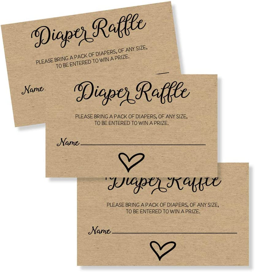 50 Gender Neutral Kraft Baby Shower Diaper Raffle Tickets, Lottery Insert Cards for Heart Baby Shower Invitations Supplies Games for Baby Gender Tickets (50-Cards)