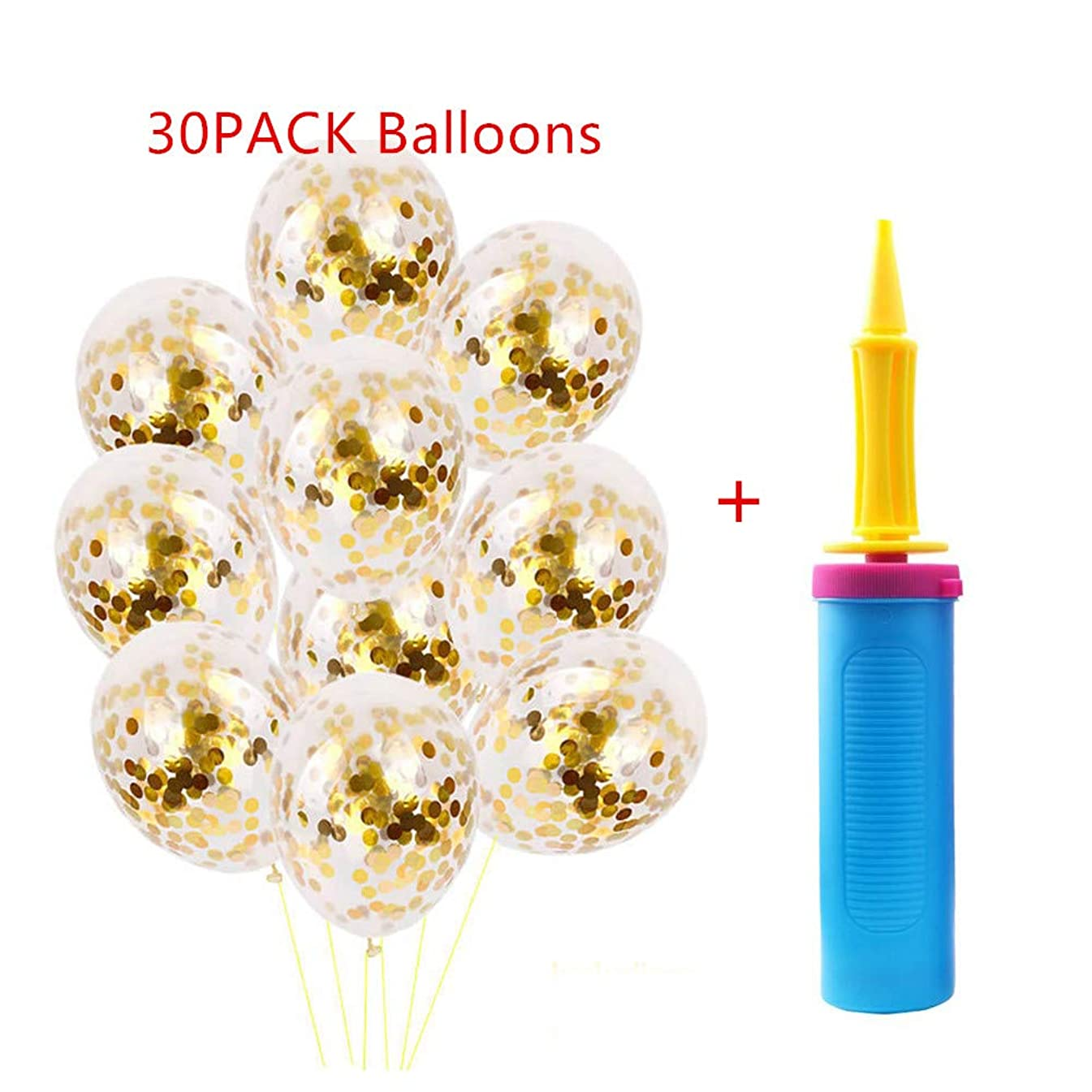 Mary Paxton 30 Pack Gold Confetti Balloons+Pump Set,Graduation Party Supplies Latex Glitter Balloons Kit Golden Paper Dots Birthday Decorations Proposal Wedding 10