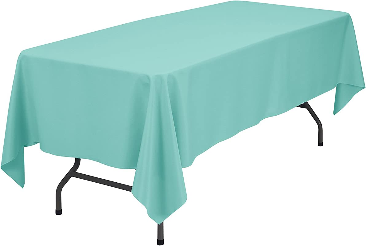 Remedios Rectangle Tablecloth Solid Color Polyester Table Cloth For Meeting Table Wrinkle Free Dinner Tablecloth For Wedding Party Restaurant Banquet Turquoise 60x102 Inch