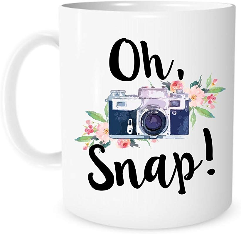 The Coffee Corner Oh Snap Camera Mug 11 Ounce White Ceramic Coffee Or Tea Mug Gift For Photographer Photography Cup Christmas Present Photo Editing Mug