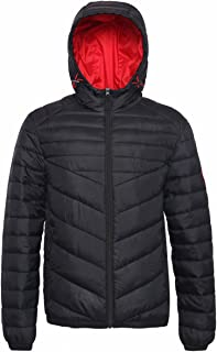Rokka&Rolla Men's Lightweight Water Resistant Hooded Quilted Poly Padded Puffer Jacket Coat