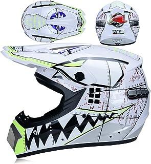 <h2>MRDEER Motocross Helm Shark Stil Erwachsener Motorradhelm Kit 4 Stück mit Handschuhe Maske Brille - D.O.T Zertifizierung - Unisex Off-Road-Helm Cross Helmet Schutzhelm</h2>