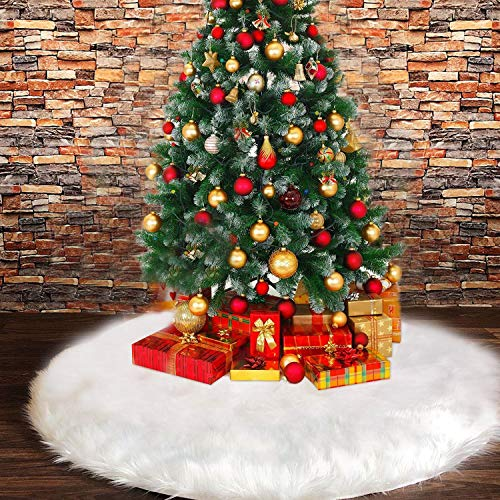 FISHOAKY Baumdecke Weihnachtsbaum Weiss, 48 Inches 122CM Weihnachtsbaumdecke Rund Snow Weiß Christbaumdecke Fell, Herrlicher und Eleganter Deko Decke für Weihnachtsbaum Dekoration