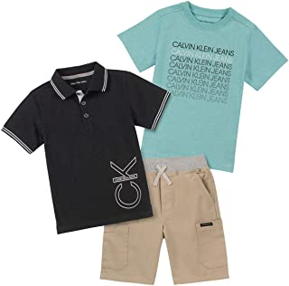 Calvin Klein Boys' 3 Pieces Polo Shorts Set