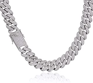 Mens Iced Out Hip Hop White Gold Plated Tone CZ Miami Cuban Link Chain Choker Necklace