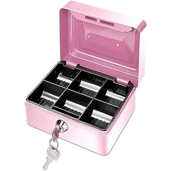 ONEVER Pequeño Banco de Dinero de Metal con Cerradura, Moneda Cash Caja Segura Hucha con 6 Compartimientos Bandeja de Dinero, Regalo Perfecto para Niños (Pink): Amazon.es: Hogar