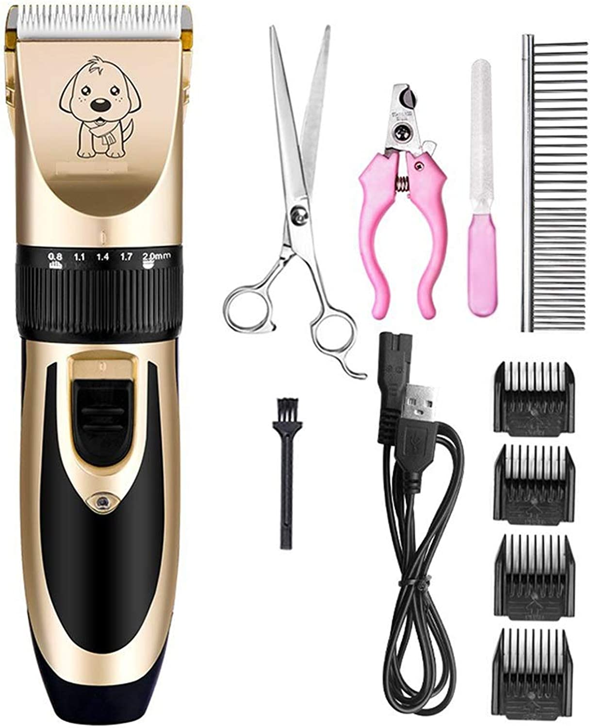 JIAO Pet Grooming Clippers Low Noise Low Vibration Rechargeable Professional Fivespeed Finetuning
