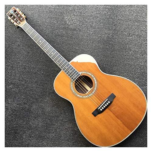 Fishbone binding 00042 classical acoustic guitar 000-42 acoustic electric guitar handmade solid cedar top OOO 42 body acoustic (Color : Guitar Preamp Case)