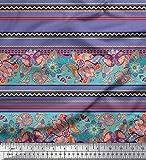 Soimoi Lila Satin Seide Stoff Streifen, Blätter & Paisley